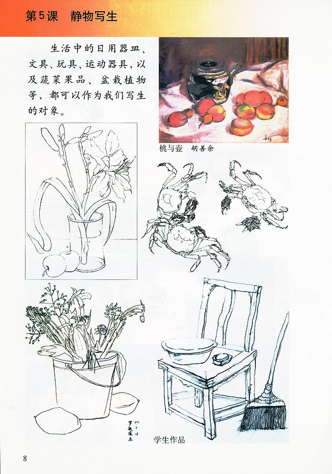 小学生美术荷花画法步骤简笔画